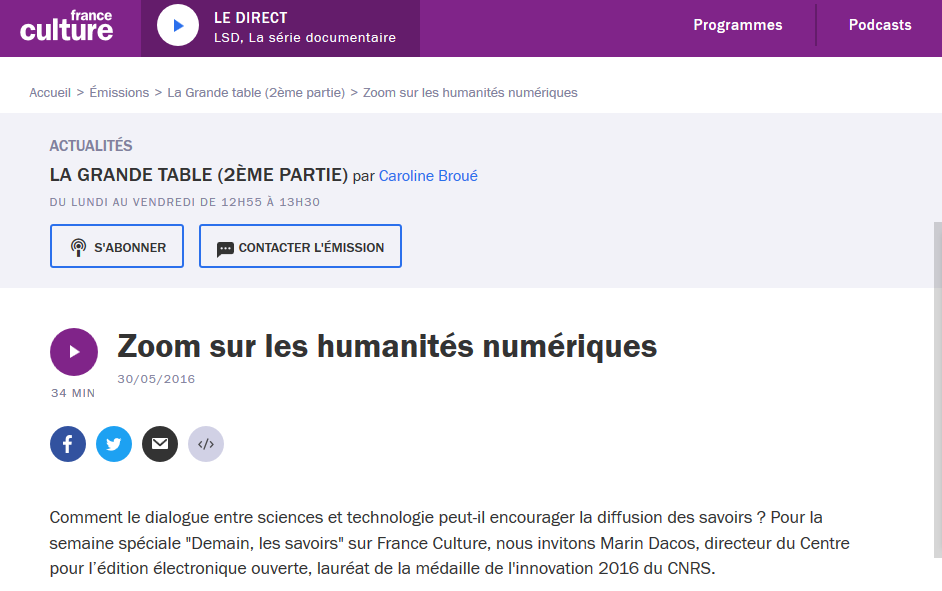France Culture - Marin Dacos